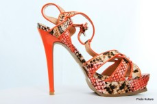 Orange patterned platform sandal by Shoe DazzleSOLD OUT